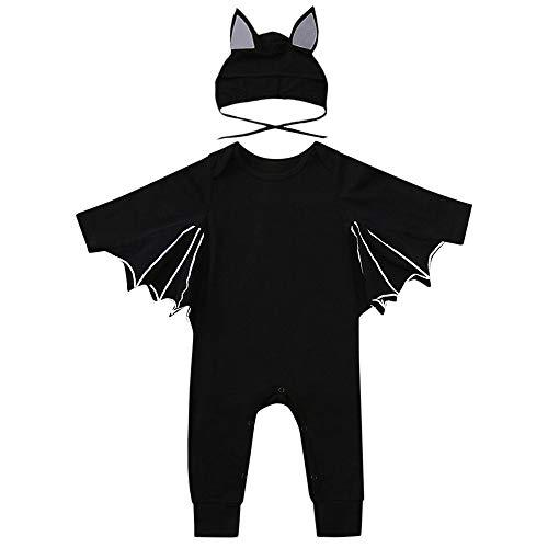 (XXYsm Baby Strampler Halloween Bat Overall Langarm Reine Farbe Cosplay Kostüm Jumpsuit für Mädchen Jungen (Schwarz, 0-6 Monate))