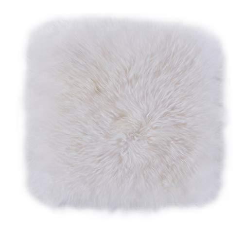 Luxor Living Schaffell, Flauschige Sitzauflage, Sitzkissen aus 100{aab39a6e85d4bd6ba5ab38b4f5e57615388b9bcb6701b4d2584921a5f962b157} echtem Lammfell, Farbe:Weiß, Größe:34 x 34 cm
