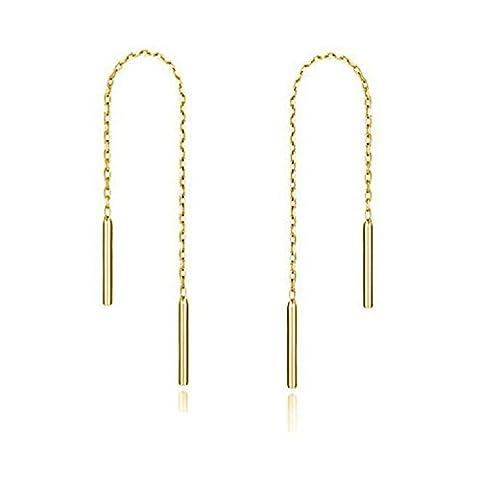 Butterme 925 Sterling silber Einfädler Bar Ohrringe Lange Kette Ohrringe für Frauen, 3 Zoll (Kette Einfädler Ohrringe)