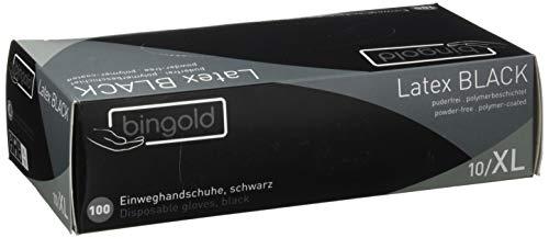 Bingold - Lote de 100 guantes desechables de látex, sin polvo, Negro, XL