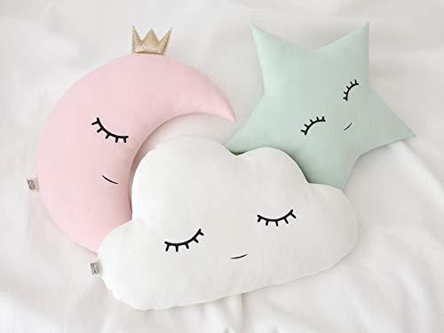The Purple Tree Cute Pink Cloud Moon Star Crib Cushion Set for Babies (3 pc), Baby Cot Cushions, Baby Cushions, Cute Crib Cushion Set