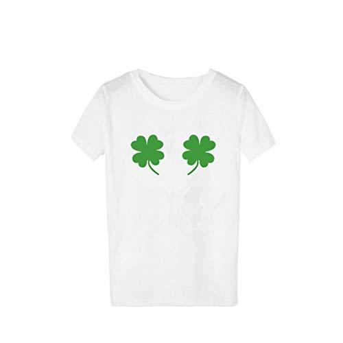 Lazzboy ST. Patrick's Day T-Shirt Frauen Mädchen Plus Size Print Kurzarm T Shirt Bluse Tops(S,C)