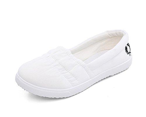 Minetom Donne Casual Loafer Scarpe Tela Scivolare Su Tallone Piano Scarpe Punta Rotonda Scarpe Bianco 37