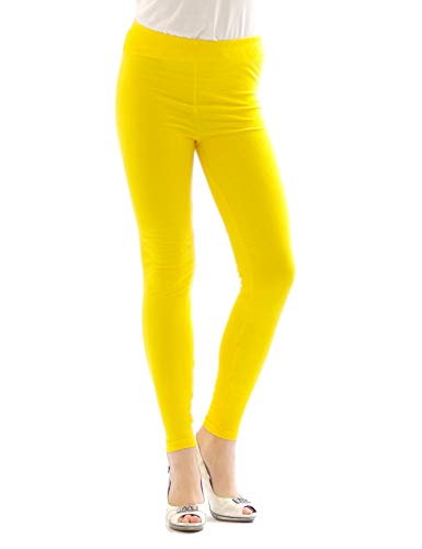 yeset Thermo Leggings Leggins Hose lang aus Baumwolle Fleece warm dick weich gelb XXXL