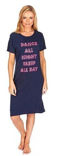 Manches Courtes Pour Femmes Riche En Coton Robe De Nuit / Chemise De Nuit Bleu marine - Dance All Night