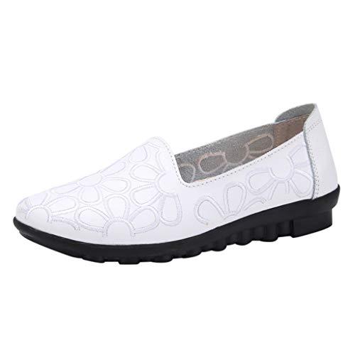 Yvelands Damen Mode Stickerei Slip-On Müßiggänger Schuhe Weiche Freizeit Wohnungen Arbeitsschuhe(CN-38,Weiß)