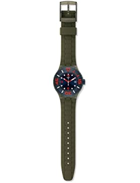 Swatch Herren-Armbanduhr XL Scuba Libre Whalebone Analog Quarz Silikon SUUG400