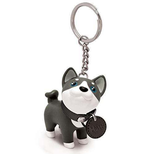 Bestja Niedlich Tier Form Schlüsselanhänger Hund Katze Schlüsselring Schlüsselbund Auto Motorrad Taschen Kaninchen Anhänger Schlüsselkette (Siberian Husky)