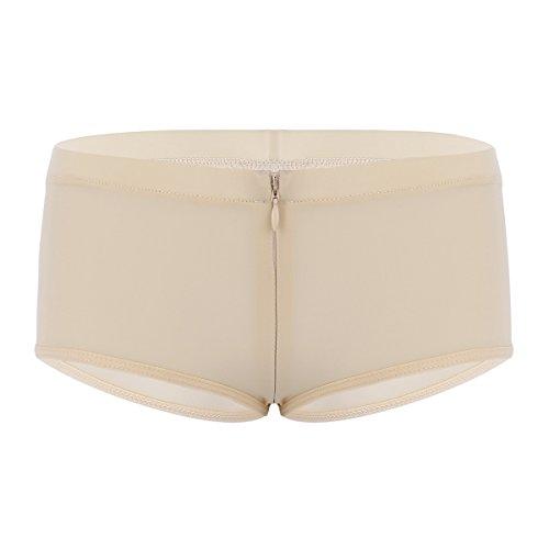 dPois Damen Panty Panties Hipster Hotpants Ouvert-Slip mit Reißverschluss Frauen Erotik Dessous Unterhosen Low Rise Lingerie Schritt Dessous Reizwäsche Nude One_Size -