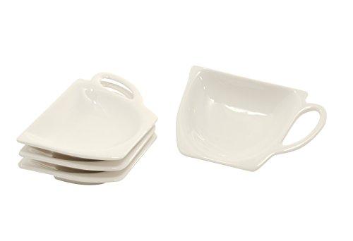 4 Stück Tellerchen für Teebeutel - Teebeutelablage ,,White' in Geschenkverpackung von DUO