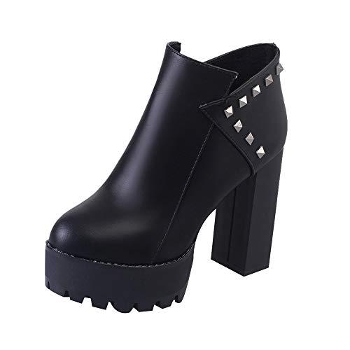 n Winter Herbst Schuhe Mode Stylische Mädchen Dicke Stiefel Warme Stiefel Slouchy Hohe Pumpstiefel Schuhe (Schwarz, 38) ()