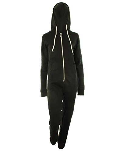 Women Ladies All In One Plain Thick Fleece Onesie Jumpsuit Tracksuit