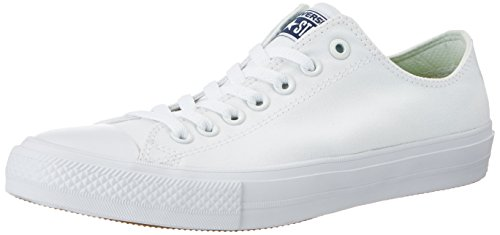 Converse Unisex-Erwachsene Chuck Taylor All Star II Sneakers, Weiß (White/White/Navy), 40 EU (Low Converse All Sneaker Star)