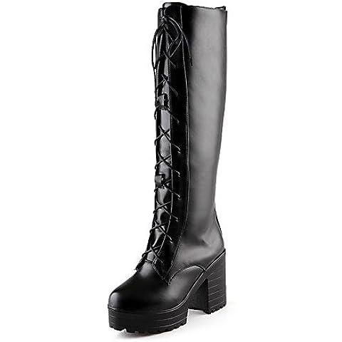 Zapatos de mujer botas primavera/otoño/invierno tacones/plataforma/Moda Puntera redonda Botas/oficina/carrera/vestimenta casual Chunky talón,Negro,US8 / UE39 / UK6 /