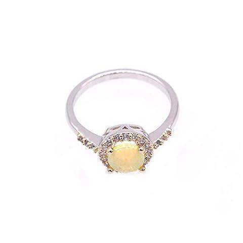 LOVE STUDIO,Damen Mode Ring glänzende AAA Zircon Tropfen Formen Finger Ringe 10K Gold überzogene doppelte Farben Ring Jahrestags Verlobungsringe (Ring Size 6, Gold (Opal Gold Überzogenes)