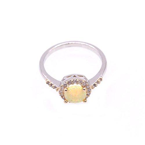 LOVE STUDIO,Damen Mode Ring glänzende AAA Zircon Tropfen Formen Finger Ringe 10K Gold überzogene doppelte Farben Ring Jahrestags Verlobungsringe (Ring Size 6, Gold Yellow)