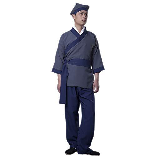 Kostüm Alten Chinesischen Männer - lONMEI Herren Hanfu - Chinesische Alte Chinesische Diener-Gelehrte Traditionelle Cosplay-Kostüme, Blau/XL