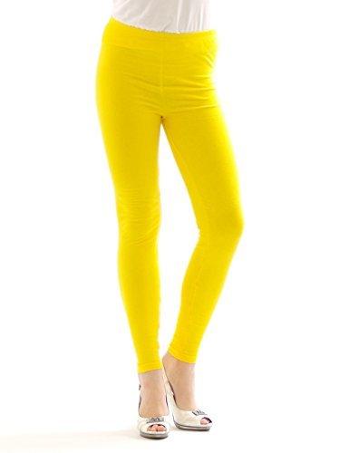 Damen lange Leggings Leggins lang Baumwolle Hose Röre Herren Wäsche GELB M