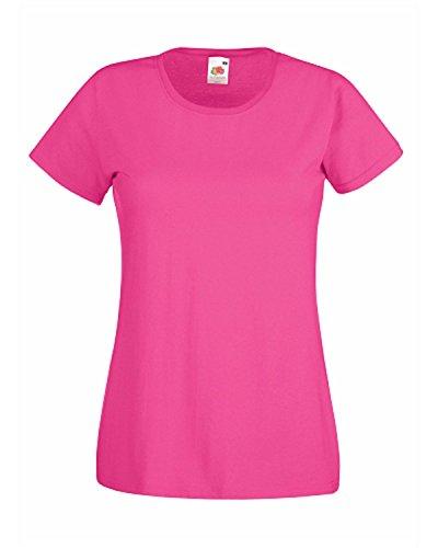 Fruit of the Loom de las mujeres señoras de cuello camiseta de manga corta T Shirts rosa fucsia Small