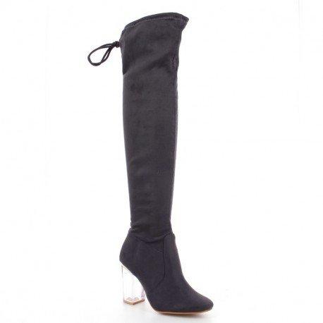 Ideal Shoes - Cuissardes effet daim avec talons transparents Daisy Gris