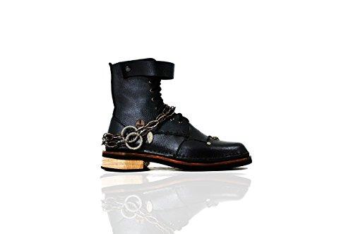 Cocaine Gold + Zubehör I - The Shoemaker Der Schuster Handgefertigte Hand Genäht Leder Rindsleder Stiefel Männer Frauen Unisex Einzigartige Schwarz Einzigartige