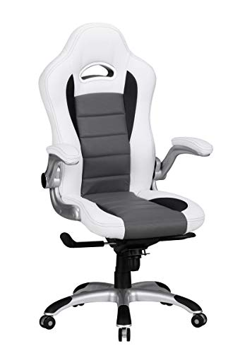 FineBuy Chaise de Bureau Racing Chaise Design Ordinateur Gamer Course siège Sport |avec Repose-tête Fauteuil de Direction Gamer | Cuir synthétique - Blanc avec Rayures Noires - Chaise de Jeu 120 kg