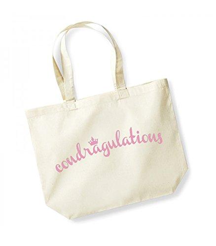 Condragulations - Large Canvas Fun Slogan Tote Bag Natural/Pink
