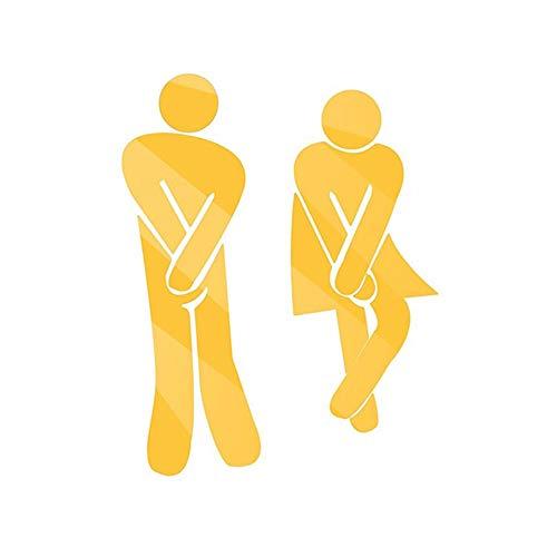 Park Bad Beleuchtung (Premium Qualität 1 Satz Bar WC Bad Männlichen und Weiblichen Logo Aufkleber Kreative 3D Toiletten Spiegel Wandaufkleber Gold Ogquaton)