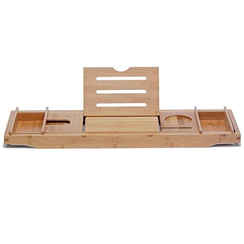 Jazi Regale Regale Badewanne Tablett, Bambus Badewanne Caddy Tablett Verstellbarer Badetisch Rutschfeste Seitenverlängerung, passend für alle Wannenträger -