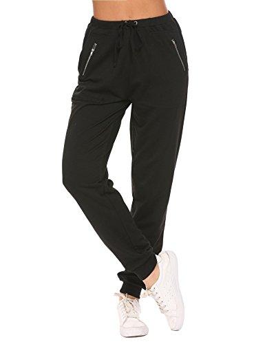 Ekouaer Damen Hose Jersey-Hose Sporthose mit Taschen Elastische Taille mit Tunnelzugbund Swearhose