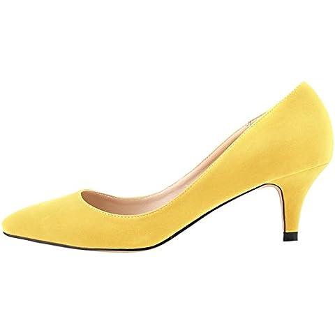 OCHENTA Mujer de imitacion de terciopelo clasico Bajo Zapatos de tacon de la aguja