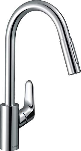 hansgrohe Focus Küchenarmatur (Wasserhahn Küche ohne Schlauchbox, 150° schwenkbar, ausziehbare Brause mit 2 Strahlarten, hoher Komfort-Auslauf 240mm, Standardanschlüsse) Chrom