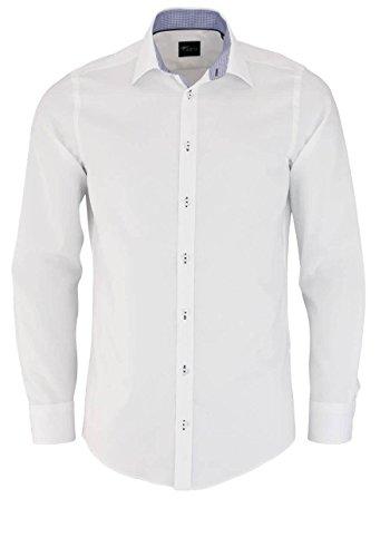 VENTI Slim Fit Hemd Langarm mit blauen Besätzen Struktur weiß Größe 42