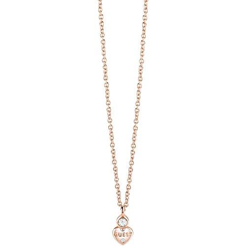 Guess–collana da donna con ciondolo a forma di cuore 40+ 5cm placcato ubn82012