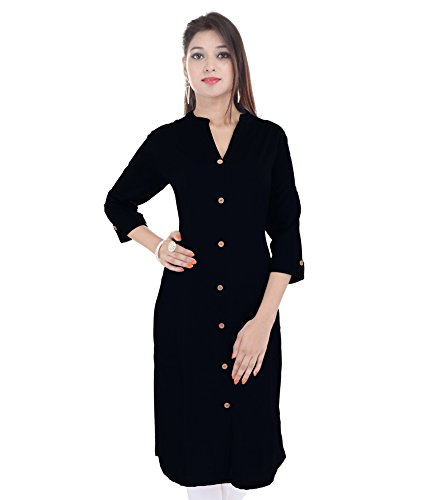 Thari Chice Women Cotton Cambric Plain A-Line Kurti With Fixed Wooden ButtonFor...