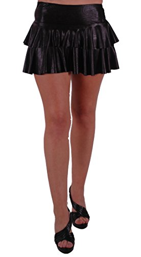 Metallic Look Ruffle Short Club Party Skirt Black M/L