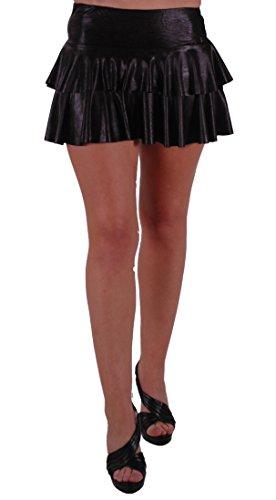 Elektra Metallic Look Ruffle Short Club Party Skirt Black M/L
