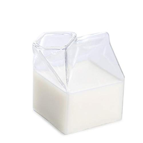Jasnyfall Glas Milch Glasschalen Kreative Amerikanische Milchkartons Neuheit Milch Kaffee Saft Tasse Kristall Frühstück Container Box Können Mikrowelle - Milch Tasse Mikrowelle