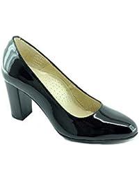 Escarpins d Hotesses MARIGNANE Alarm Free Escarpin Bout Rond Fin Talon Haut Chaussures  Confort Uniforme Femme Cuir Vernis… e6391c385467