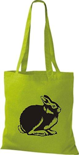 Shirtstown Stoffbeutel Tiere Hase, Rammler, Häschen Lime