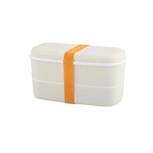 MINMINA Kinder Lunchbox 600 Ml Gesundes Material Lunchbox Mikrowelle Geschirr Frischhaltedose Einfache Elastische Band Doppel Lunchbox 15,5 * 15 * 7 cm,White,15.5 * 15 * 7cm