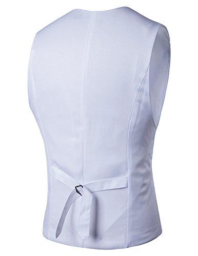 YCHENG Elegante Gilet da Uomo Slim Fit del Panciotto della Maglia Business Casual Bianco