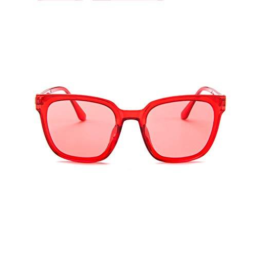 EUCoo Sonnenbrillen ZubehöR Retro-Mode Flache Rahmen Quadratische Brille Rahmen Flache Brille Spiegel Fahren(rot)