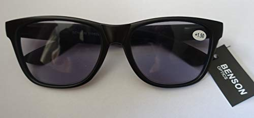 GKA Nerd Sonnenbrille mit Sehstärke Sonnenlesebrille mit Federbügel Lesebrille braun-leo rot oder schwarz Damen und Herren (schwarz mit grauem Glas, 1,0)