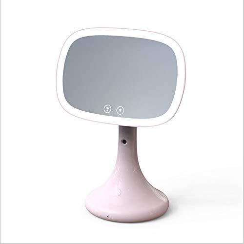 Mode LED multifunktions Wasserfüller Nano Spray Luftbefeuchter Tragbare Lupe Füllen Licht Schönheit Desktop USB Make-Up Licht Spiegel Originalität (Color : Pink)