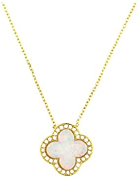 Kurshuni Halskette Kleeblatt Opal Gold