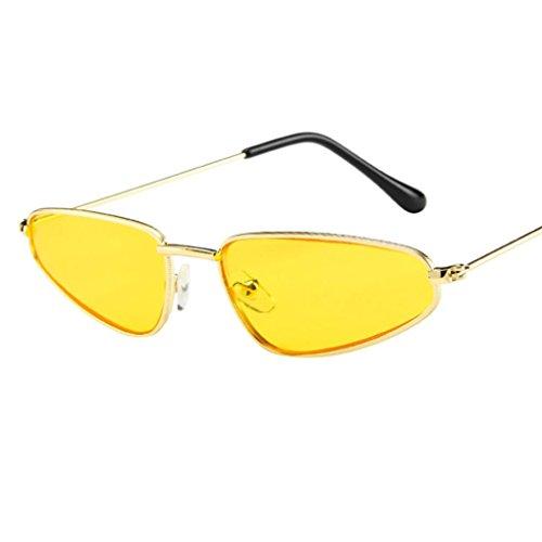Dragon868 Frauen Damen Kleine Rahmen Sonnenbrille Vintage Retro Cat Eye Sonnenbrille (Gelb)
