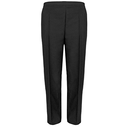 MyShoeStore Pack Of 2 Ladies Womens Half Elasticated Trouser Stretch Waist Casual Office Work Formal Pull On Trousers Straight Leg Pants Bottoms With Pockets Plus Big Sizes 10-24