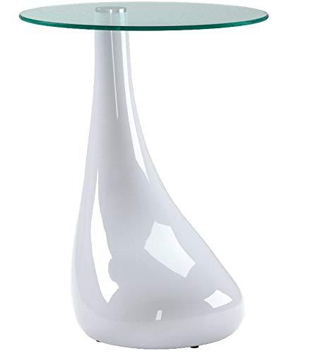 GOLDFAN Table d'appoint en Verre avec Table Basse Ronde Haute Brillance Table de Bout de Canapé pour Salon Mobilier de Bureau, Design Moderne, Blanc(42 * 42 * 55 cm)