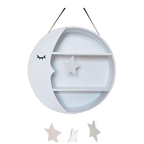Schöne Runde 2 Tier Ledge Wandbehang Regal Holz Mond Form Nordic Punch Free Lagerung Kinderzimmer Wanddekoration 39,5 cm * 8,5 cm (Farbe : Weiß)